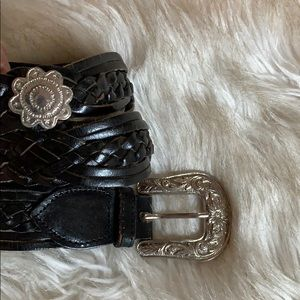 Vintage Black Woven Leather Belt w Silver Buckle